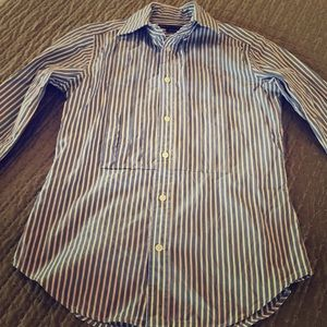 Long Sleeved Blue and White Ralph Lauren blouse
